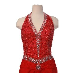 Dresses & Skirts - Red Formal Evening Prom Dress Halter Open Back
